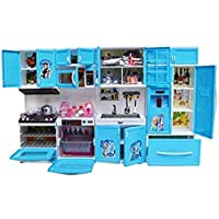 Tabu Toys World Little Chef Kids Kitchen Play Set with Light & Sound Cooking Kitchen Set Play Toy (Blue 4 Fold K-Set)