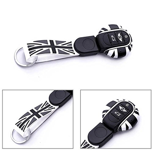 ijdmtoy-1-black-grey-union-jack-style-key-case-cover-shell-w-lanyard-for-3rd-gen-mini-cooper-f55-f56