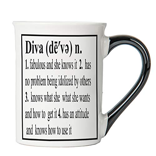 Cottage Creek Diva Cup Large 18 Ounce Ceramic Diva Coffee Mug/Gifts For Women [White]