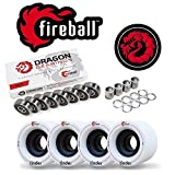 Fireball Dragon Precision Bearings for Skateboards, Longboards, Inline Skates, Roller Skates, Spinners (608 Bearing) (Race 8-Pack w/Tinder Wheel Set & Spacers/Speed Rings)