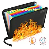 Fireproof File Folder Portable File Organizer,13 Pockets Fireproof Document Bag Filing Folder Document Organizer Briefcase,Non-Itchy Silicone Coated A4 Size Folder Organizer Bag with Zipper