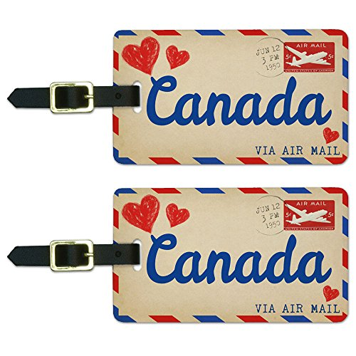 Graphics & More Air Mail Postcard Love for Canada Luggage Suitcase Carry-on Id Tags, White