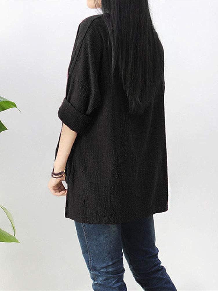 Onsoyours Camicetta Donna Elegante Taglie Forti Lino Top A Maniche Lunghe Tinta Unita Maglietta Casual Shirt Basic Loose Top