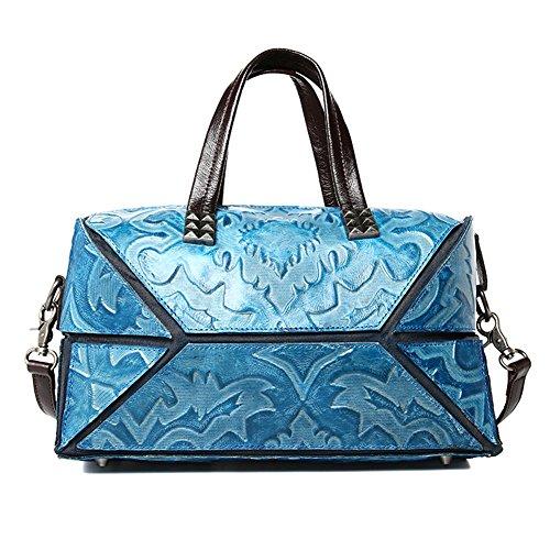 Kteam Geometric Designs Shoulder Bag Satchel Leather Handbag For Women Qyw8320-blue