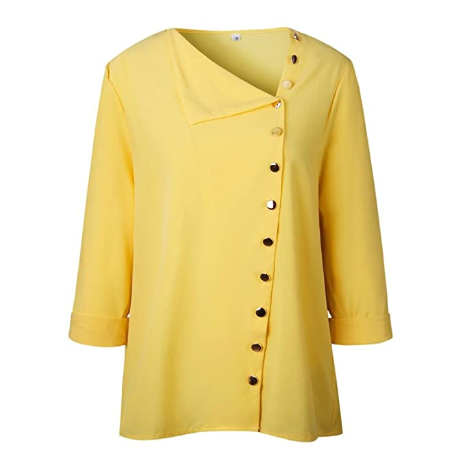 Mujer Oficina PANY de Trabajo Punto de impresión Gris Casual Manga Larga Camisa Blusa Top Mujer