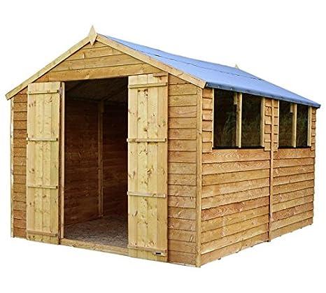 10 x 8 valor de madera solapada jardín cobertizo con 4 ventanas y puertas dobles (