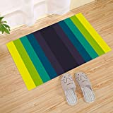 JANNINSE Color Transfer Gradient Stripe Small Door Mat, Yellow Brown Green, Household Items Printed Geometric Pattern Combined With Non-Slip Washable Doormat