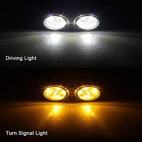 NTHREEAUTO Turn Signal Lights Smoke Lens w/ LED Bulbs for
