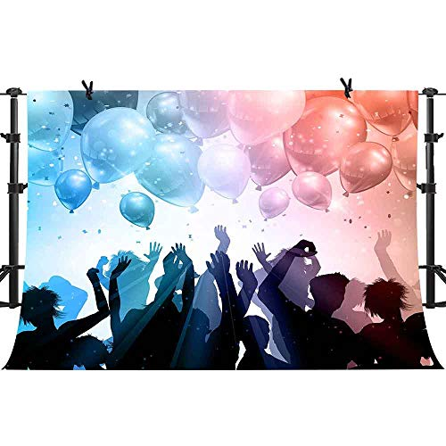 (PHMOJEN Dancing Theme Party Backdrop People Silhouette Flying Balloons Photography Background Vinyl 10x7ft Hip Hop Rave Party Backdrop Banner XCPH517)