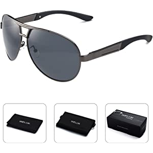 81a9124055 WELUK Mens Aviator Sunglasses Polarized Oversized Wide Frame UV400 for  Driving