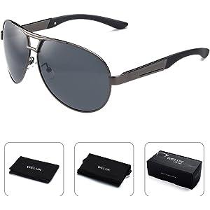 10bdd07b916 WELUK Mens Aviator Sunglasses Polarized Oversized Wide Frame UV400 for  Driving