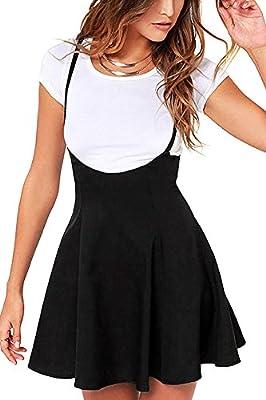 YOINS Women's Suspender Skirts Basic High Waist Versatile Flared Skater Skirt