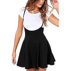 YOINS Women's Suspender Skirts Basic High Waist Versatile Flared Skater Skirt Black S