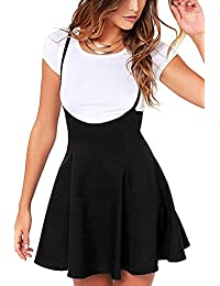 Women's Suspender Skirts Basic High Waist Versatile Flared Skater Skirt