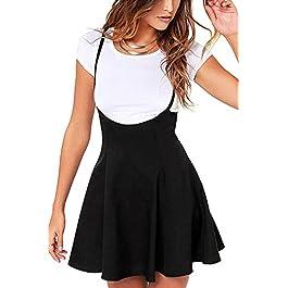 YOINS Women's Casual Suspender Skirts Basic High Waist Flared Solid Mini Skater Skirt