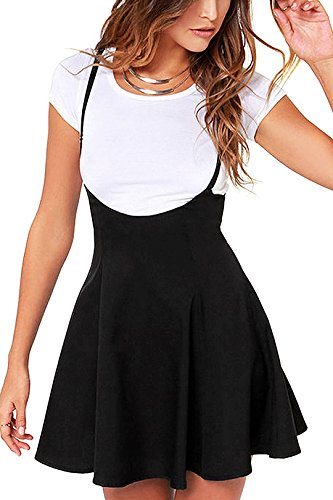 YOINS Women's Suspender Skirts Basic High Waist Versatile Flared Skater Skirt Black L
