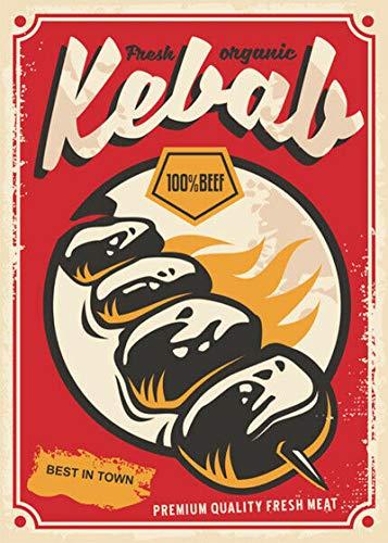 Shunry Doner Kebab Placa Cartel Vintage Estaño Signo Metal ...