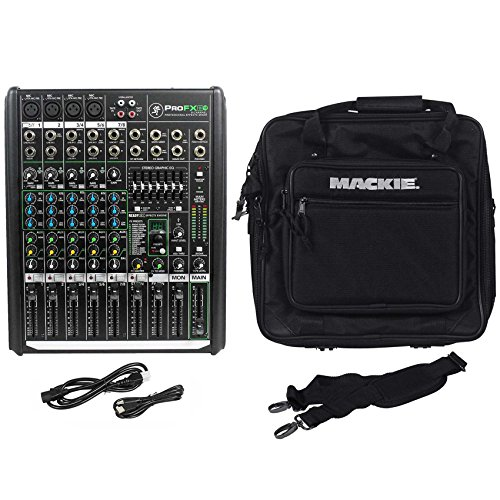 Mackie PROFX8v2 Pro 8 Channel Mixer with Effects and Travel Bag With Shoulder Strap (Mixer Case 8 Channel)