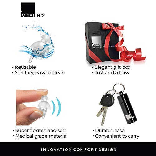 High Fidelity Premium Concert Earplugs by Vital HD - Certified in USA and Germany - Latest Acoustic Technology - Reusable - Comfort Fit - for Musicians DJ Music Festivals Motorcycle etc - Gift Box by Vital HD (Image #7)