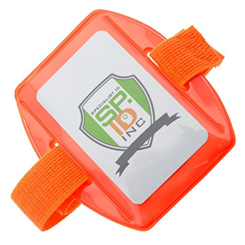 e Armband ID Badge Holder - Bright Orange with Adjustable Elastic and Hook & Loop Strap by Specialist ID ()
