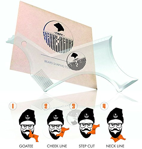 Beard Shaping Tool by Bear's Beard Care | All in One Beard Shaper for Men, Styling Template Comb, Perfect for Straight Symmetric Cut, Goatee and Neck Line, Mustache Grooming Beard Care. (Clear)
