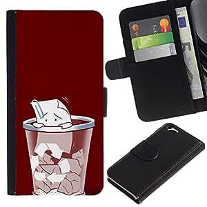 NEECELL GIFT forCITY // Billetera de cuero Caso Cubierta de protección Carcasa / Leather Wallet Case for Apple Iphone 6 // Triste clip de papel