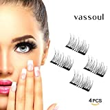 VASSOUL Dual Magnetic Eyelashes - Magnet Ultra-thin 0.2mm - 3D Reusable Fake Eyelashes For Women Makeup - Natural Look (1 Pair/4 Pcs)