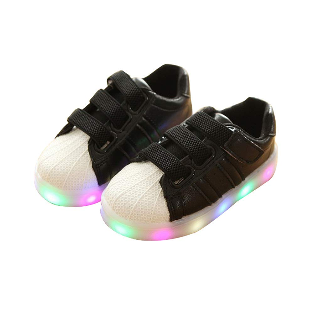 edv0d2v266 Child Baby Shoes LED Light Luminou Fashion Sneakers Colorful(Black 23/6 M US Toddler)