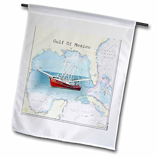 3dRose Florene - Nautical Map Décor - Print of Gulf Of Me...
