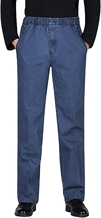 80s Mens Jeans, Pants, Parachute, Tracksuits IDEALSANXUN Men's Elastic Waist Denim/Twill Casual Pants $34.98 AT vintagedancer.com