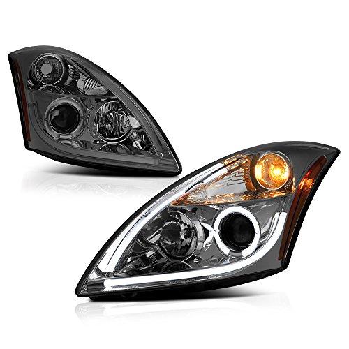 ([For 2010-2012 Nissan Altima Sedan Halogen Model] OLED Neon Tube Chrome Smoke Projector Headlight Headlamp Assembly, Driver & Passenger Side)