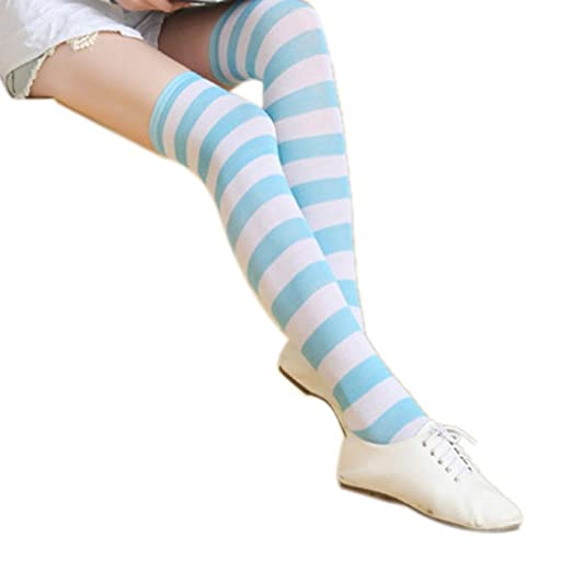c932f0592aa Amazon.com  Tinksky Thigh High Over the Knee Stocking Socks Blue ...