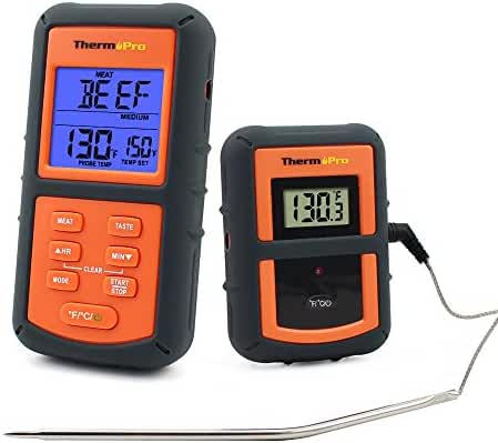 ThermoPro TP07 Wireless Remote Digital Kitchen Cooking Food Meat Thermometer with Probe for BBQ Smoker Grill Oven, 300 Feet Range