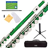 Mendini Green Closed Hole C Flute with Stand, 1 Year Warranty, Case, Cleaning Rod, Cloth, Joint Grease, and Gloves - MFE-GL+SD+PB