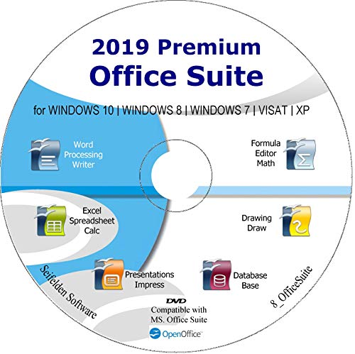 Office Suite 2019 Alternative to Office Home Student and Business Compatible with Word, Excel, PowerPoint for Windows 10, 8.1 8 7 Vista XP by Apache OpenOffice ms Word ms Office (DVD-DISC)