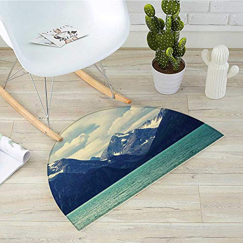 Mountain Half Round Door mats Northern Norway Atlantic Coastline Fishing Harbor Snowy Nature Bathroom Mat H 23.6