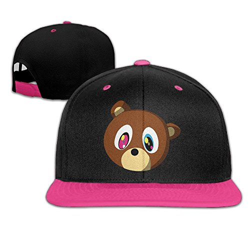 NUBIA Bear Sunbonnet Brim Hat Adjustable Flat Bill Cap Pink ()