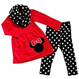 So Sydney Toddler & Girls Minnie Mouse 3 Pc Outfit Tunic Leggings Infinity Scarf (XXL (7), Red & Black Polka Dot)