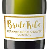 """Bride Tribe Custom"" Mini Champagne Wine Bottle Custom Label Sticker for Bridal Shower Party, Engagement, Wedding Gift, Bachelorette, Elopement Invitation - Specialized Personalized Bespoke Set of 8"