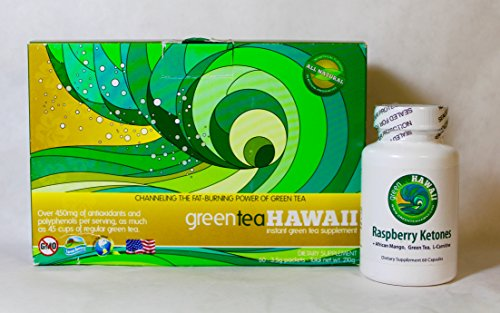 North Shore Diet: Green Tea Hawaii 60ct. (Variety) Powdered Antioxidant Drink with Noni and one bottle of Raspberry Ketones. by greenteaHawaii