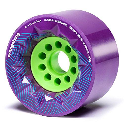 (Orangatang Caguama 85 mm 83a Downhill Longboard Skateboard Cruising Wheels w/Loaded Jehu V2 Bearings (Purple, Set of 4))