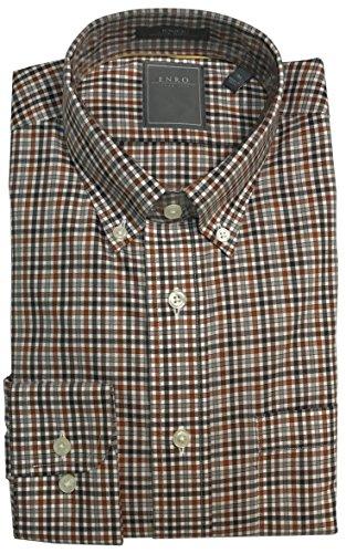 Enro Non-Iron Brown Check Big & Tall Sport Shirt (XLT, Brown)