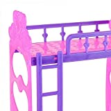 Qiyun Bedroom Furniture Accessories Cute 3.5 Inch Plastic Double Bed Frame For Kelly Barbie Doll Purple Pink Or Pink Yellow Color Random