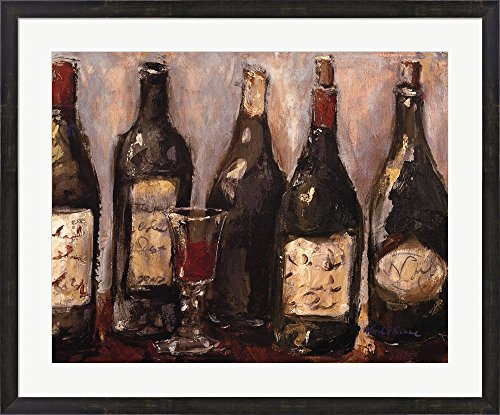 Wine Bar with French Glass by Nicole Etienne Framed Art Print Wall Picture, Espresso Brown Frame, 35 x 29 ()