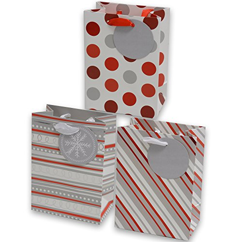 Gift Bags, Extra Small foil hot-stamp striped, swirl and polka dot designs in red white & gray, set of 24 heavy duty bags for Wedding, Christmas Holiday and all events (Extra Small) - Extra Small Design