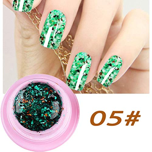 OUFENLI DIY Natural Sexy Blingbling Marble Glue Light Therapy Nail Polish Sequins Halloween Makeup (E)