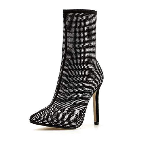 Casual Robe L'ue Pointu Bottes Cm Taille 42 De Chaussures Strass Cheville Orteils Booties Femmes 35 Short Court Chaussures Stiletto Black 5 11 Bling c47F60U7v