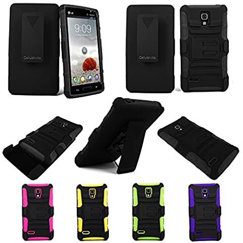 For LG Optimus L9 P769 CellularvillaTM Black/Black 3pc Hybrid Hard and Soft Kickstand Case with Holster Clip (Lg L9 Music Case)