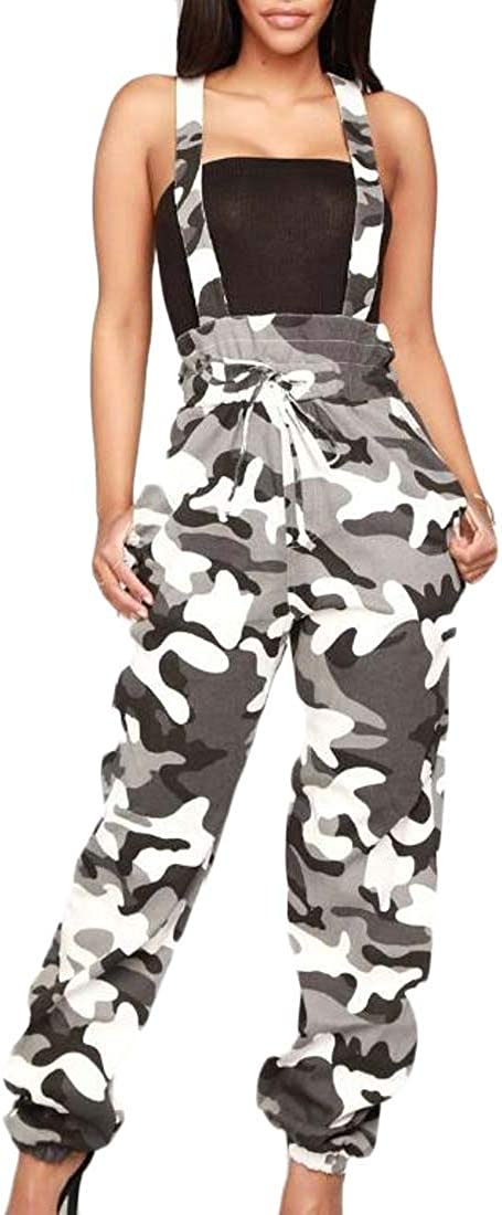 pipigo Women Sleeveless Printed Baggy Elastic Waist Overall Jumpsuits