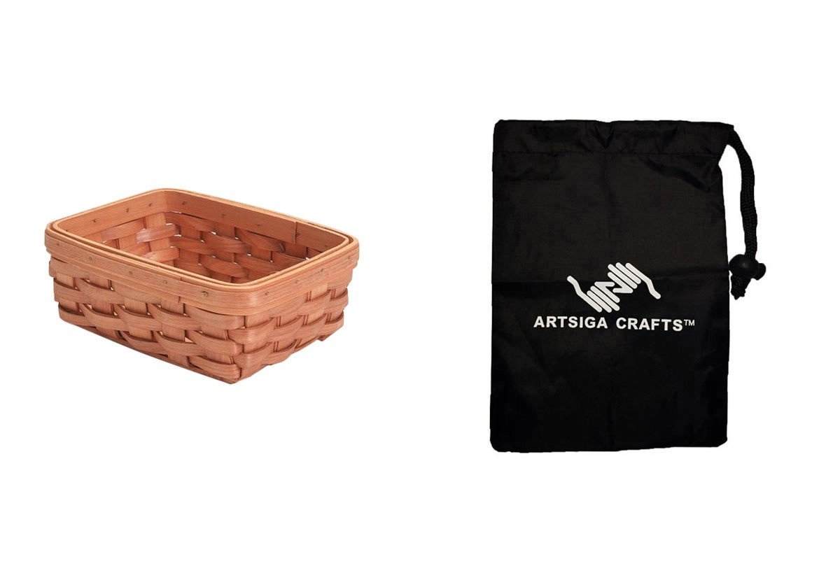Darice Basket Shelf Wood Country Tray 8 x 6 x 3in. (12 Pack) 2848 16 bundled with 1 Artsiga Crafts Small Bag